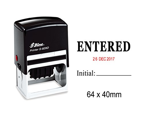 - Self Inking Shiny Date Stamp With Entered & Initial Text Office Stationery Rubber Stamper S-829D