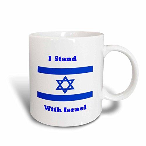 3dRose mug_205250_2 Print of Israeli Flag with I Stand with Israel Ceramic Mug, 15 oz, White (Israeli Ceramic)