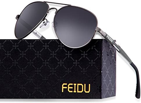 FEIDU Mens Polarized Aviator Sunglasses Metal Frame Unisex Sun Glasses FD9001