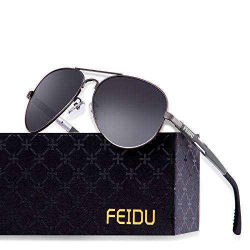 FEIDU Mens Polarized Aviator Sunglasses Metal Frame Unisex Sun Glasses FD9001 (Black/Gun, (Frame Adult Unisex Sunglasses)