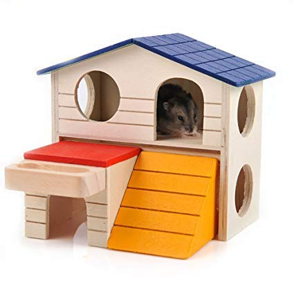 zacheillo Hamster Wooden Hideout House,Deluxe Two Layers Chew Toys,Playing Exercise Hut with Slide for Gerbil Mouse Rat Small Pet Animals.