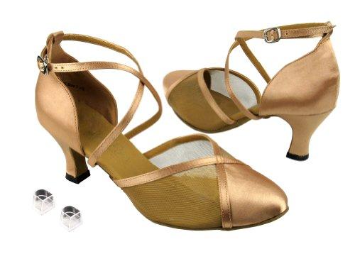 Très Bien Dames Femmes Chaussures De Danse De Salon Ek9622 Avec 2.5 Talon Marron Satin Et Maille Dor