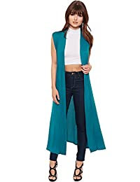 WearAll Women's Long Maxi Open Sleeveless Top Jacket Collar Plain Cardigan