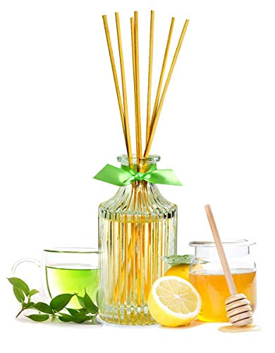Manu Home Green Tea & Lemon Reed Diffuser Giftset | Crisp, Lively Aroma of Green Tea, Lemon and Honey | Aromatherapy Oils Used | Made in USA (Room Tea Green)