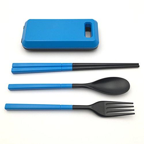 CATOP 3 Pieces Flatware Set, Fork Spoon Chopsticks Set, Reusable Lunch Box Utensils, Environmental Folding Camping Tableware Cutlery Flatware for Outdoor Travel