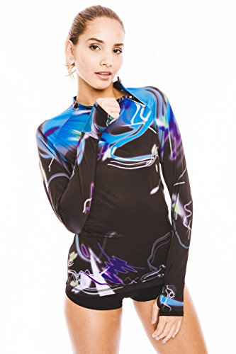 Platinum Sun Divers Women's Mystica Lycra (rash guard) long sleeves - S. Tight fit 50+ UV protection. With thumb holes and zipper on the neck.Perfect for surfing, kitesurfing and diving