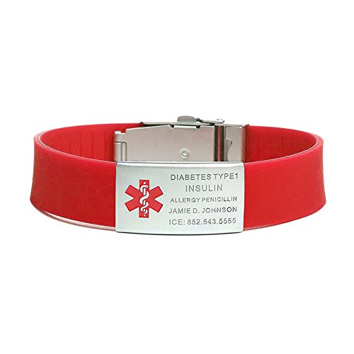 BAIYI Silicone Medical Alert ID Sports Bracelet for Women Red Wristband Stainless Steel Tags Free Engraving