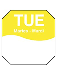 """DayMark IT1100602 MoveMark Day of the Week Removable Octagonal Label, Tuesday, 1"""" x 1"""", Yellow (Roll of 1000)"""