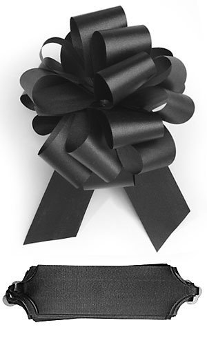 "10 Black Pull 5.5"" Diameter Bow 20 Loops Gift Wrapping Wrap Ribbon Instant Bows"