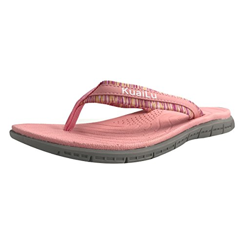 Womens Womens Swimming Arch - KuaiLu Women's Non-Slip Casual Flip Flop Thong Sandals for Beach Pink-Grey