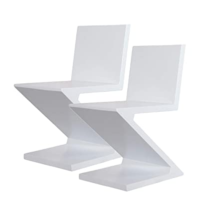 Brilliant Amazon Com Mlf Gerrit Thomas Rietveld Zig Zag Chair White Short Links Chair Design For Home Short Linksinfo