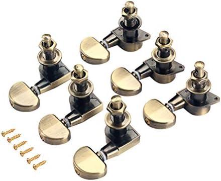 TOYMYTOY 3L 3Rラウンドヘッド・チューニング・ペグ・チューナー・ヘッド、アコースティック・エレクトリック・ギター用のボタン・キーセット(ブラウン)