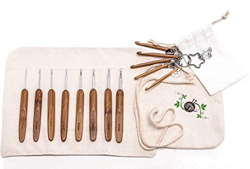 Premium Ergonomic Bamboo Crochet Hook Set with Canvas Case by Gretchens Meadow Knitting - Complete Set of 8 Fancy Hooks from 2.5mm-6mm - Hand Made - Aluminum Hooks - Mini ()