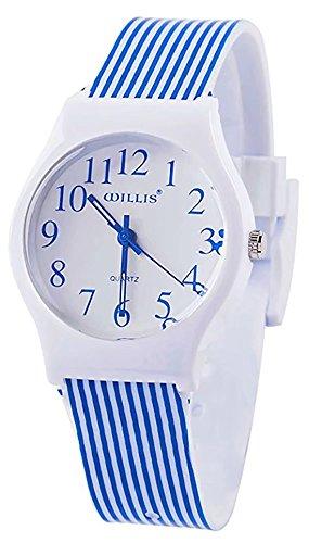 Kids Children Girls Women Teen Watch, 2017 Autumn New Rainbow Stripe Time Teacher Watch Gift (Navy Strip-New)