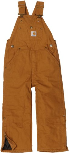 Carhartt Little Boys' Washed Duck Bib Overall Quilt Lined, Carhartt Brown, 4 (Lined Overall Quilt)