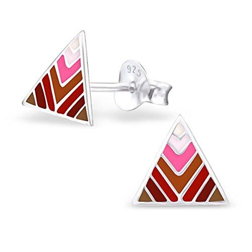 So Chic Bijoux © Enfant Boucles d'oreilles Triangle Email Couleur Argent 925