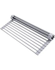 """Ohuhu Dish Drying Rack, Roll Up Sink Drying Rack, 17""""Lx 13""""W, Over Sink Dish Rack, Foldable Multi-Use Silicone Coated Stainless Steel Dish Drainers, Heat Resistant Mat, Drying/Draining/Trivet Grey"""