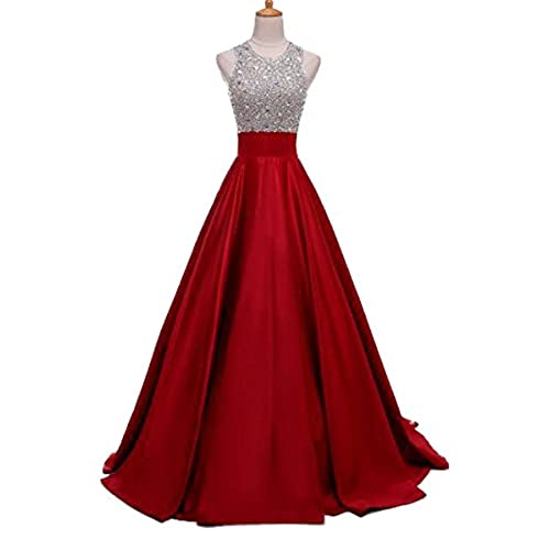Lisa Satin Prom Dress Halter Beaded Sequins Backless Long Evening Dresses LS078