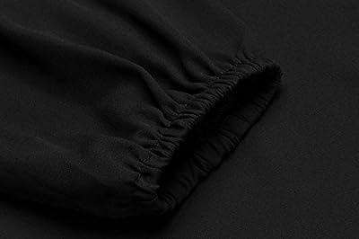 COSBEAUTY Women's Chiffon Blouse Cold Shoulder Strap Long Sleeve Lotus Shirt Tops