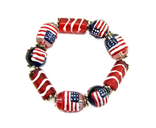 Calisa Designs USA Flag Glass Beaded Red, White, and Blue Stretch Bracelet -