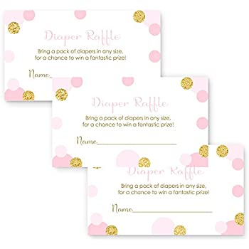 pink gold diaper raffle cards for girls baby shower set of 15