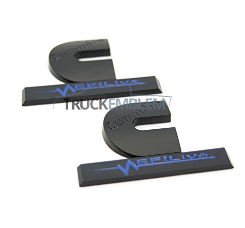2 Matte Black & Gloss Blue Cummins Turbo Diesel EFI LIVE Emblems Badges Set  2500 3500