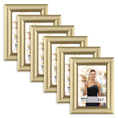 Frame (6 Pack, Gold), Gold Photo Frame 5 x 7, Wall Mount or Table Top, Set Of 6 Celebration Collection ()
