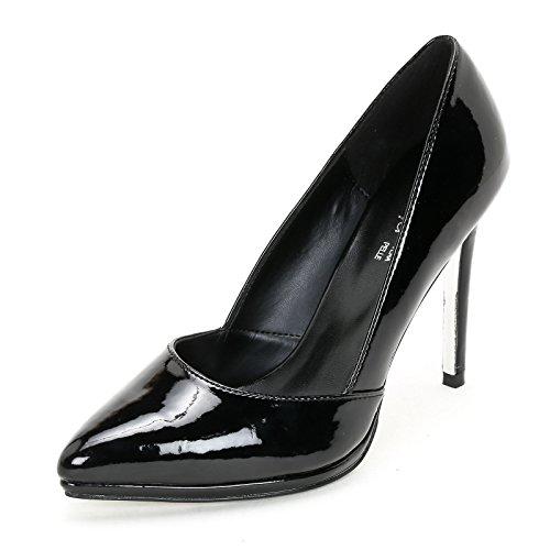 Vernice Col Alesya amp;scarpe Vernice Scarpe Nero In Scarpe Tacco 77pPna