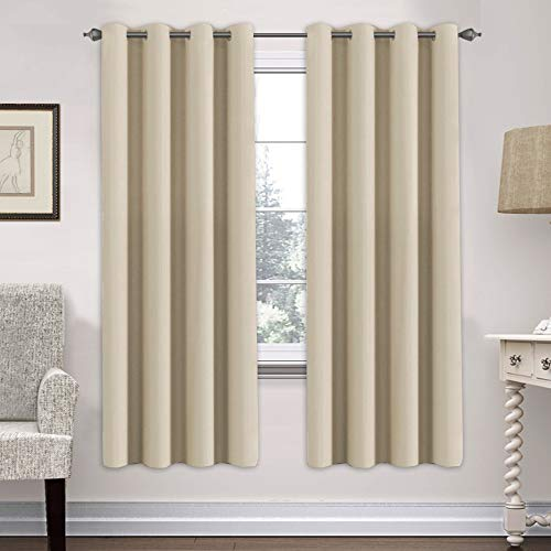 H.VERSAILTEX Thermal Insulated Blackout Curtains for Living Room - Grommet Top Glass Door Panels - Beige- 52