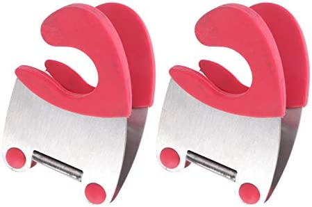 DOITOOL 2pcs Pot Clip Holder Utensil Pot Clip Spoon Rest Stainless Steel Kitchen Gadget for Restaurant Home Utensil Rest (Red)