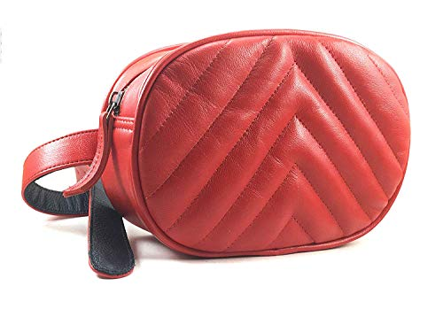 Chalk Factory Natural Lambskin Leather Waist Bag Leather Chest belt Ladies Bum Bag (Red)
