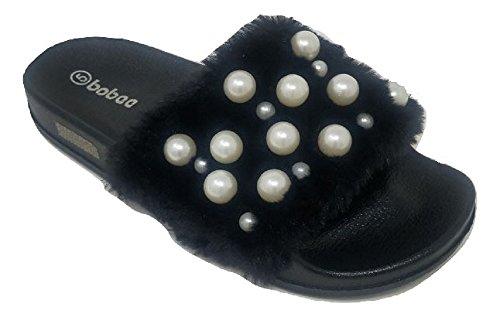 Women's Embellished Pearl Faux Fur Fuzzy Furry Platform Wedge Slide Sandals Slippers (9, Black)