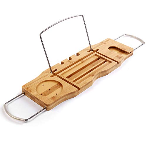 - Utoplike Extendable Bamboo Bathtub Caddy Tray Bathtub Rack with Stainless Steel Arms Adjustable Book Holder and Slots for Wine Ipad Phone