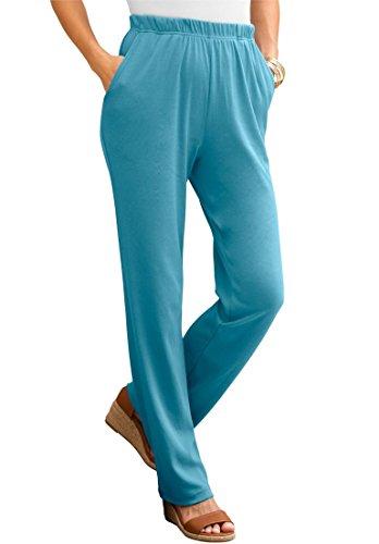 Roamans Women's Plus Size Petite Classic Soft Knit Pants