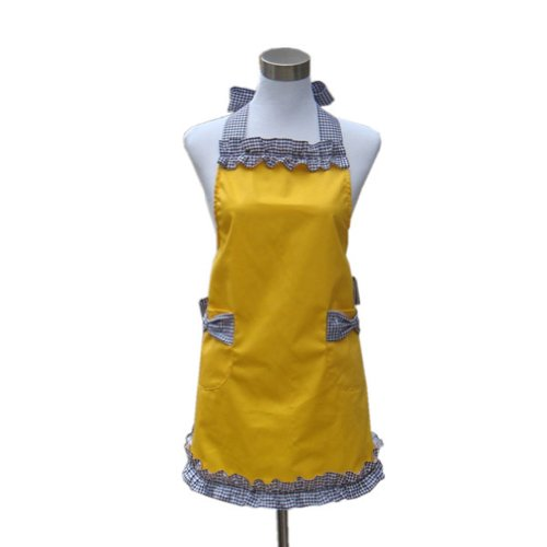 Hot 100% Cotton Lovely Yellow Girls Lady's Kitchen Fashion Restaurant Flirty Women's Cake Apron Chic with Pockets for Gift