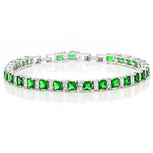 Gem Stone King Stunning Princess Cut Green Color Cubic Zirconias CZ Tennis Bracelet 7 Inch+1 Inch Extender