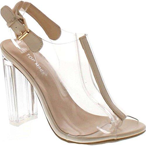 Top Moda Women's Fenton-1 Lucite Clear Strappy Block Chunky High Heel Open Peep Toe Sandal,Beige,7.5