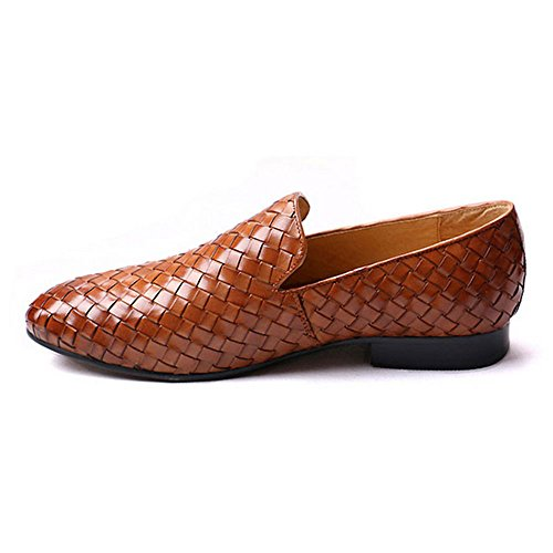 Fulinken Men's Leather Moccasin Casual Woven Slip on Loafers Causal Mens Shoes (11, Brown) Woven Leather Loafer Shoe