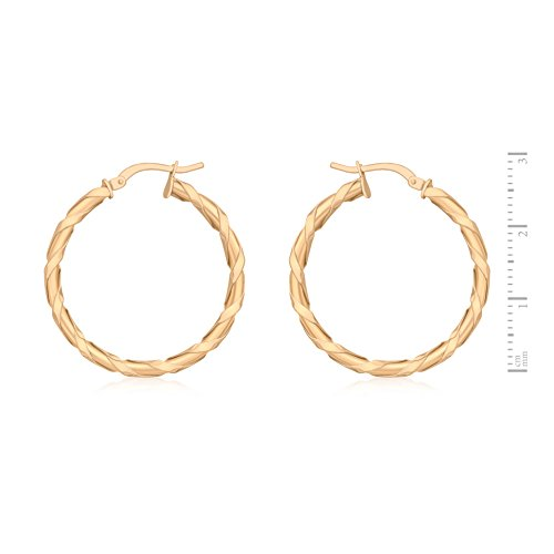 Carissima 9 ct Rose Gold 30 mm Twist Design Creole Earrings