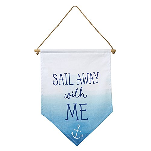 Talking Tables Coast Coastal Fabric Hanging Banner 'Sail Away with Me' for a Summer or Beach Party or Your Home Décor, Blue