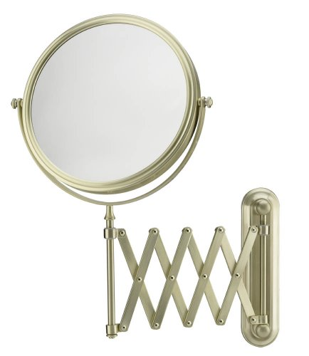 Mirror Image 233135 Extension Arm Wall Mirror, 7.75-Inch Diameter, 1X and 5X Magnification, Brushed -