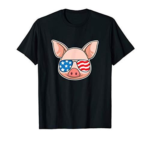 Funny Pig Shirt July 4th American Flag USA Piggy joke TShirt ()