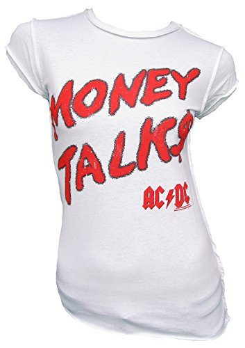 (Amplified Vintage Woman T-Shirt White Official AC/DC ACDC Money Talks M)