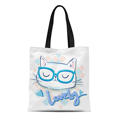 - Semtomn Canvas Tote Bag Shoulder Bags Hello Kitty Cute Cat for Girls Ears Adorable Animal Women's Handle Shoulder Tote Shopper Handbag