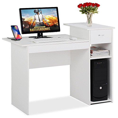 Yaheetech White Computer Desk with Drawers Study Writing Desk Workstation for Home Office