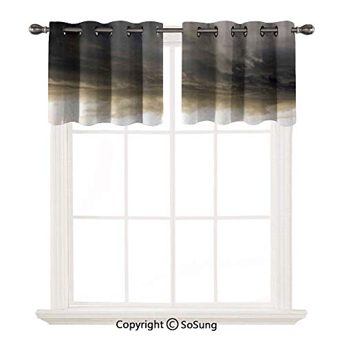 """Clouds 2 pcs 52x18"""" Short Curtains Blackout Valance,Heavy Storm Clouds in Dark Sky Hurricane Weather Cloudscape Mass of Liquid Droplets Image Thermal Insulated Light Reducing Drapes for Half Window,Gr"""