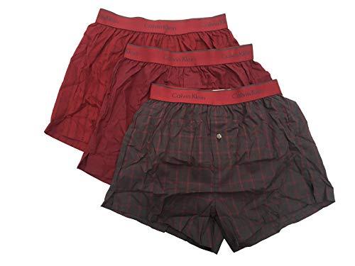 Calvin Klein Men`s Cotton Slim Fit Boxers 3 Pack (Dark Red(NP2105-976)/Plaid Grey/Plaid, ()
