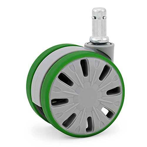 Large Office Chair Wheels Casters for Hardwood - Laminate Floor Mats Safe (Set of 5) Gray & Green
