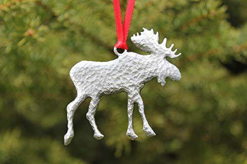 Hastings Pewter Company Lead Free Pewter Moose Ornament Made in Michigan Wildlife Decoration