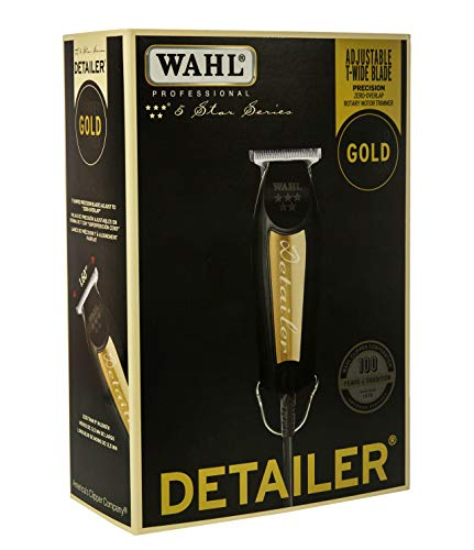 (Wahl Professional 5-Star Series Limited Edition Black & Gold Detailer #8081-1100 - With T-Blade, 3 Trimming Guides (1/16 inch - 1/4 inch), Blade Guard, Oil, Cleaning Brush and Instructions )